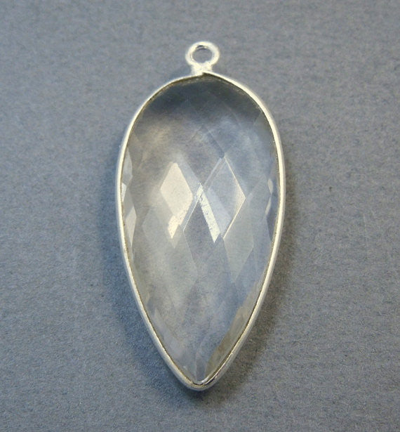 Crystal Quartz Teardrop Pendant - 30mm x 15mm Sterling Silver Bezel - Single Bail Charm Pendant