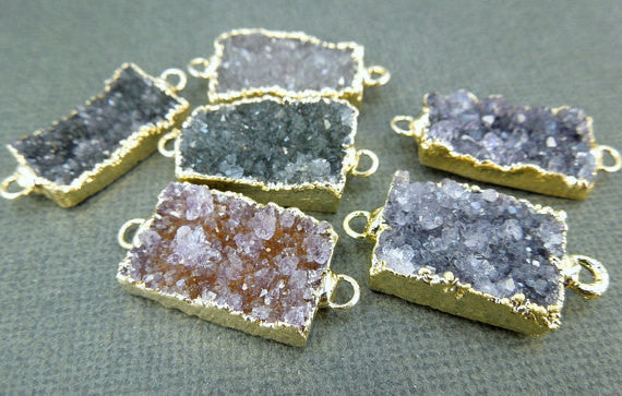 Druzy Pendant Rectangle Edged in 24k gold Double Bail