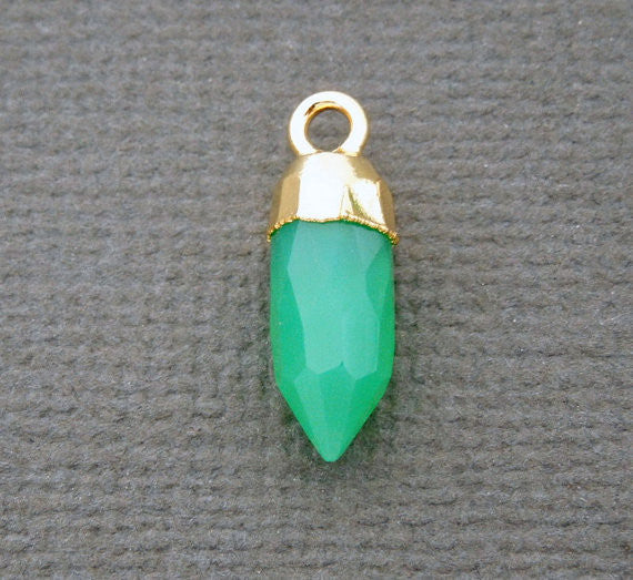 Tiny Chrysoprase 13mm Spike Pendant Charm with Electroplated 24k Gold Cap and Bail