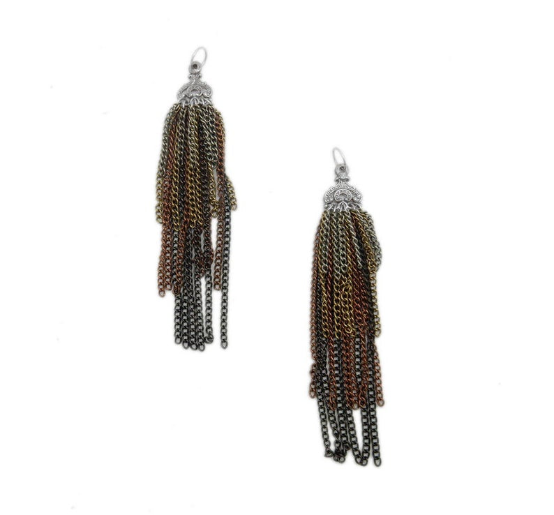 Multicolored Chain Tassel Pendant with Silver Toned Brass Accent Cap (S53B15-02)
