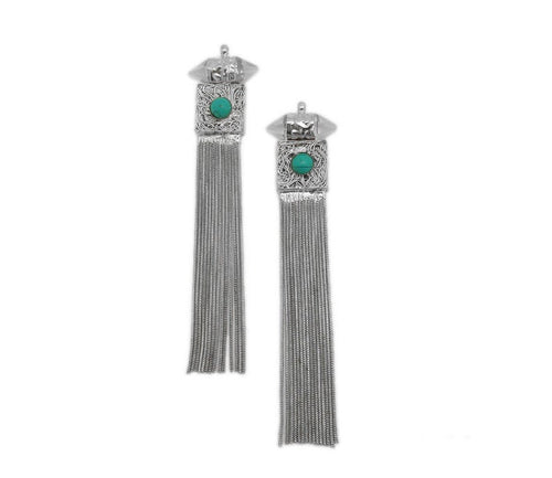 Silver Toned Glass Crystal Point Chain Tassel Pendant with Turquoise Gemstone Accent (S54B7)