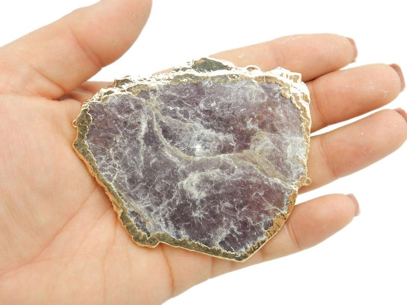 JUMBO Lepidolite Double Bail Freeform Pendant with Electroplated 24k Gold or Silver Edge (S42B6)