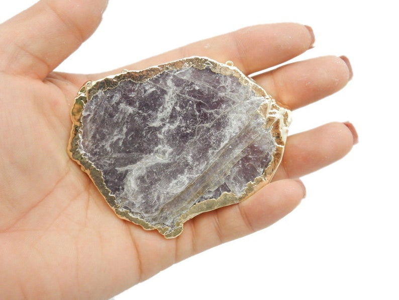 JUMBO Lepidolite Double Bail Freeform Pendant with Electroplated 24k Gold Edge (S42B6-01)
