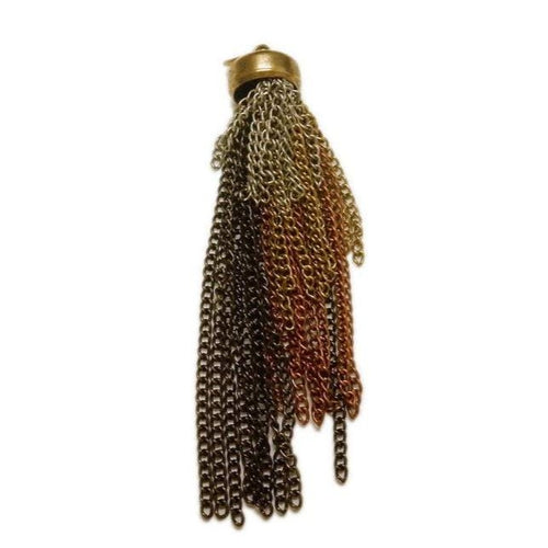 Multi-Colored Chain Tassel Pendant with Brass Cap and Bail  (S55B3-02)