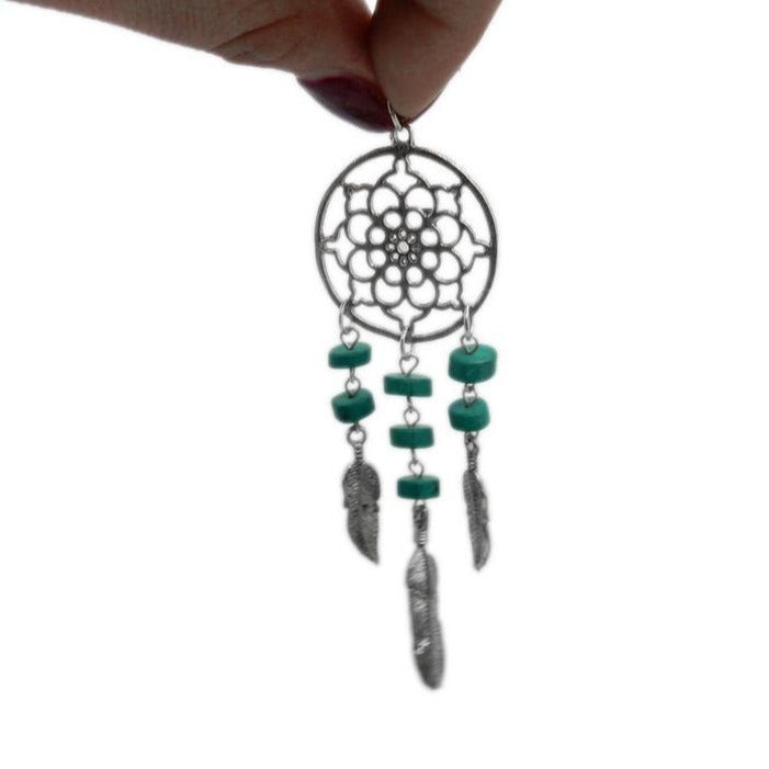 Dream Catcher Silver Toned Brass Pendant with Malachite Colored Beads - Feather Accents (S53B15-03)