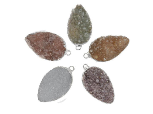 Teardrop Druzy Pendant with Electroplated Silver Edge (S87B9-02)