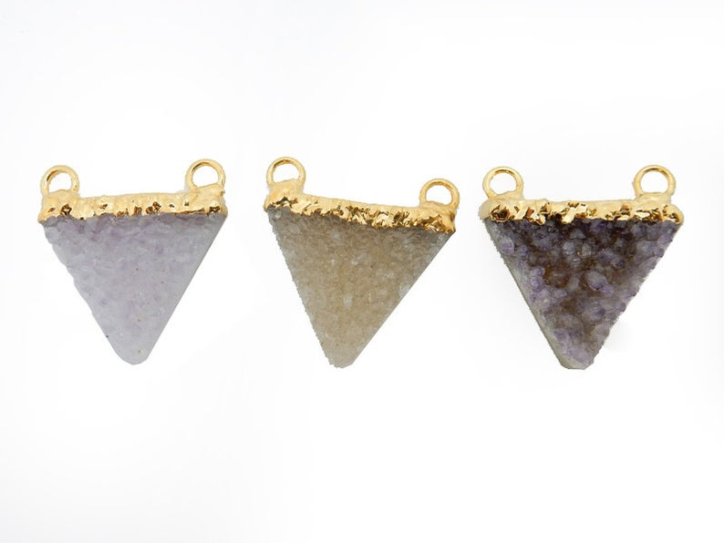 Druzy Triangle Double Bail Pendant with 24k Gold Electroplated Cap (S87b9-11)