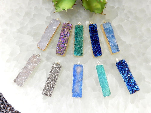 Druzy Bar Pendant with Electroplated 24k Gold or Silver Edge (S98B17) (S98B18)