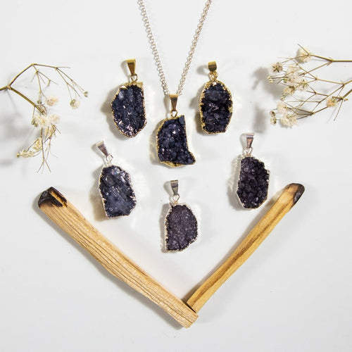Petite Black Freeform Druzy  Double Bail  Pendant with Electroplated 24k Gold or Silver Edge (S1B38)