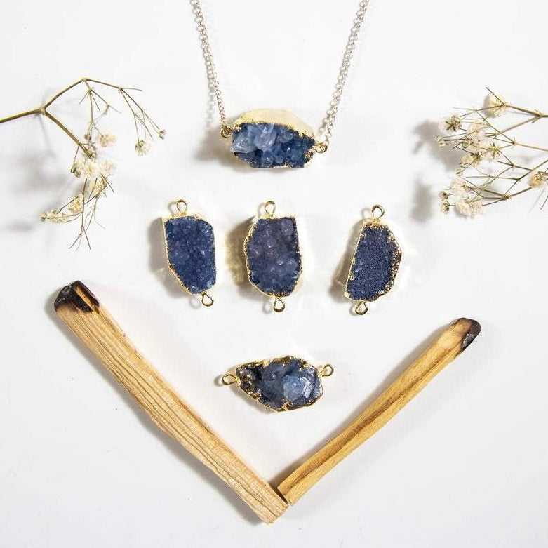 Druzy Petite Blue Freeform Druzy  Double Bail Pendant with Electroplated 24k Gold Edge (S1B38-03)