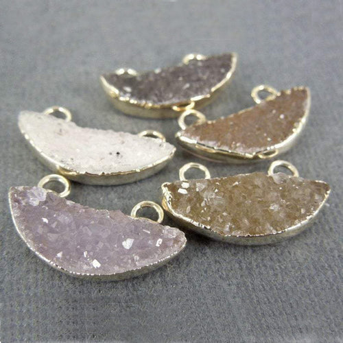 Druzy Petite Semi-Circle Double Bail Pendant with Sterling Silver Electroplated edge( DZ-22)