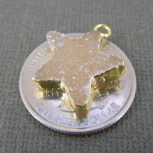 Druzy Star Charm Pendant with 24k Electroplated Gold edge (DZ-11)