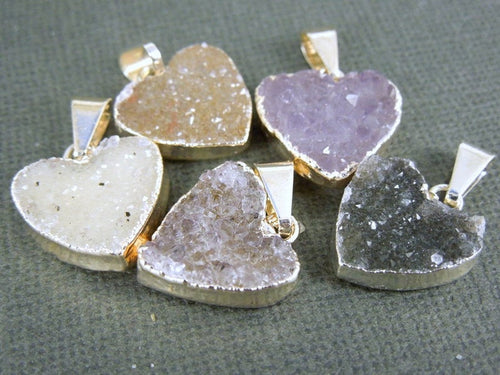 Druzy Petite Heart Pendant Charm with Sterling Silver Layered Edge (DZ-19)