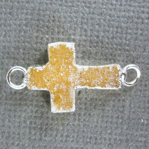 Druzy Cross Double Bail Connector Pendant with Electroplated Silver Edge DZ-18