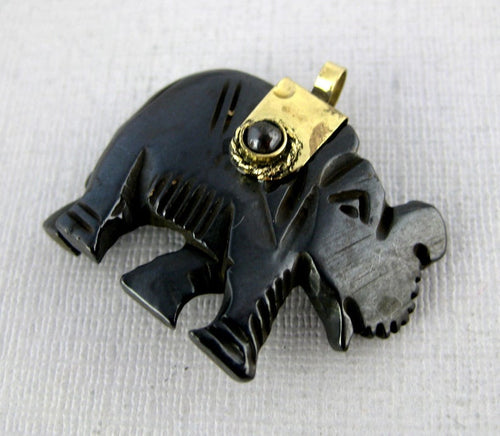 Tibetan Elephant Pendant-- Black Carved Bone Elephant with Silver Tone Cap and Onyx Accents Reversible Pendant- 5 PENDANTS (S54B4-02)