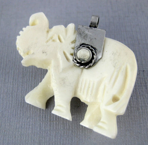 Elephant Pendant-- White Carved Bone Elephant with Silver Toned Cap and White Gemstone Accents Reversible Pendant (S54B4-04)