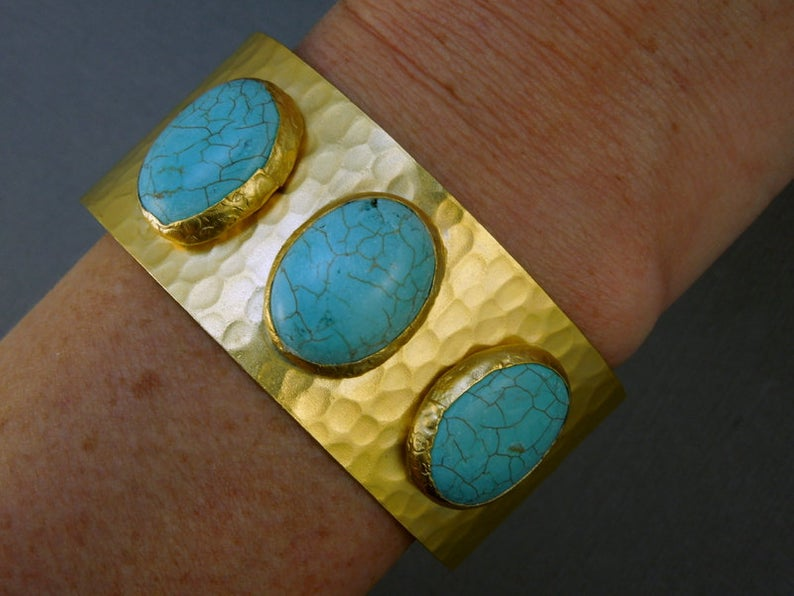 Triple Oval Turquoise Magnesite Slab 24k Gold Electroplated Cuff (4BROWNSHELF-37)