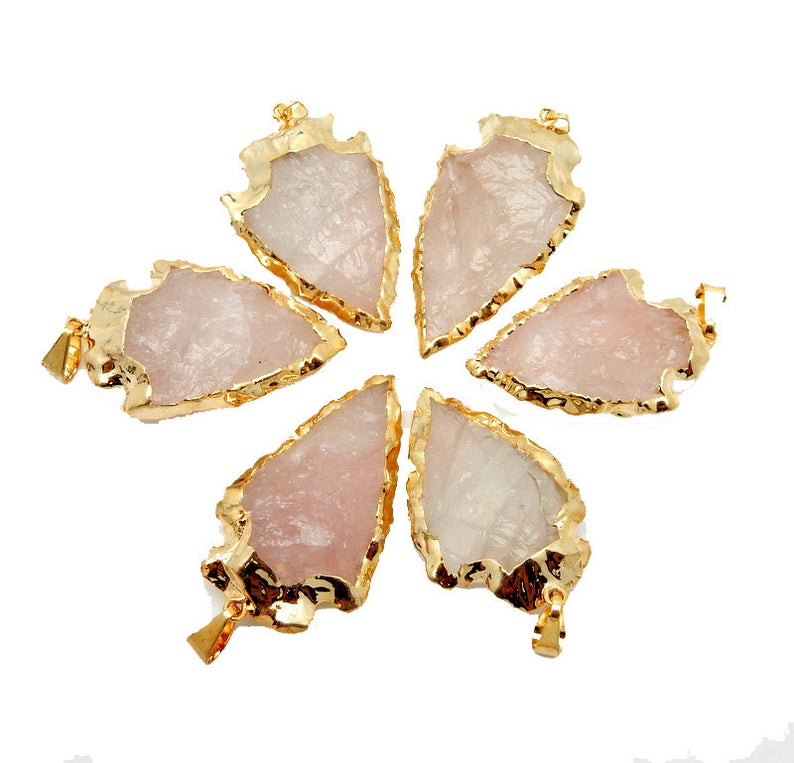 Rose Quartz Arrowhead Pendant Charm with Electroplated 24k Gold Edge (S95B5-11)
