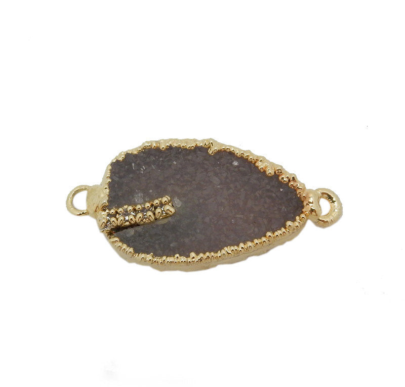 Teardrop Druzy Double Bail Pendant with Electroplated 24k Gold Edge and Rhinestone Accents (S17B3-05)