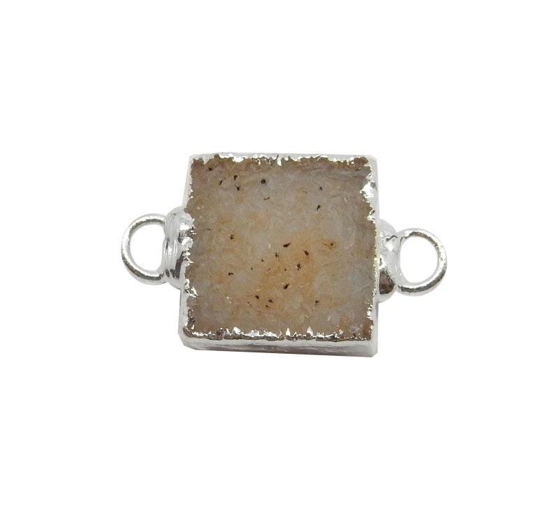 Petite Drusy Square Double Bail Connector Pendant with Silver Electroplated Edges