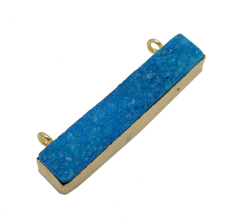 Dyed Turquoise Colored Druzy Double Bail Pendant -- Gold Bezel Bar