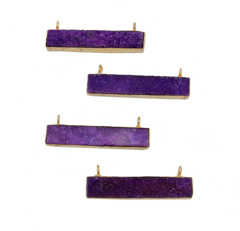Dyed Purple Colored Druzy Double Bail Pendant -- Gold Plated Bezel Bar