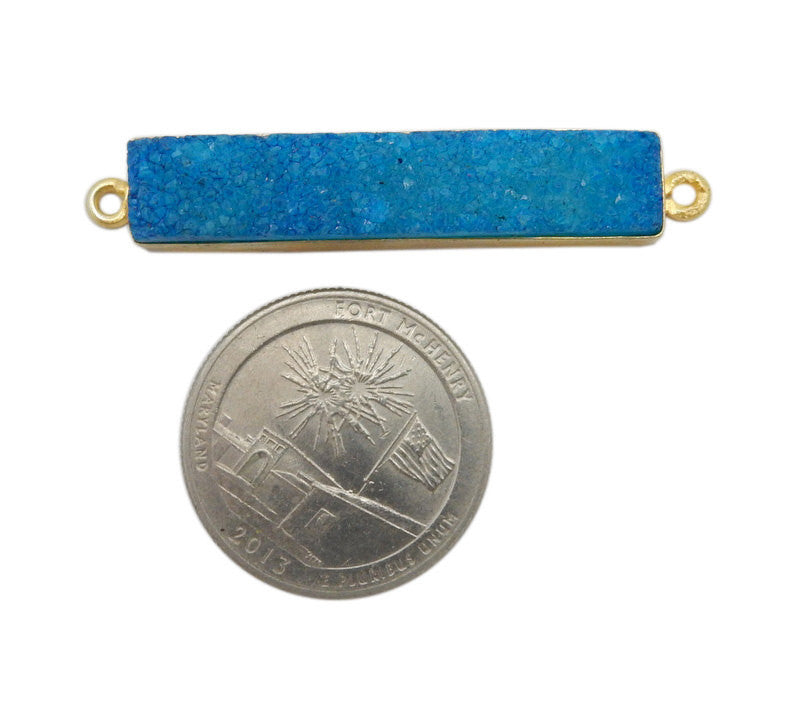 Dyed Teal Colored Druzy Double Bail Pendant -- Gold Plated Bezel Bar