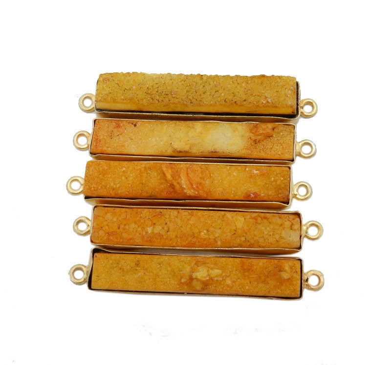 Dyed Yellow Colored Druzy Double Bail Pendant -- Gold Plated Bezel Bar
