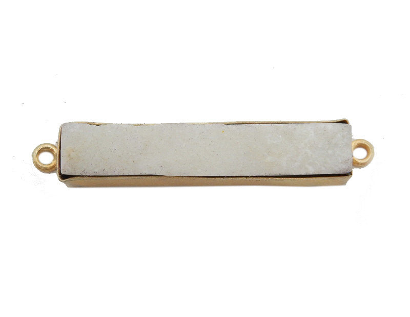 White Druzy Double Bail Pendant -- Gold Plated Bezel Bar