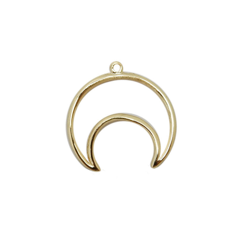 Petite Gold Over Sterling Silver Crescent Moon Pendant with Opened Center (LA-180)