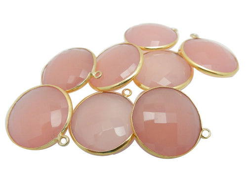 20mm Bezel Pink Chalcedony Round Pendant - 20mm Gold over Sterling Bezel Charm Pendant