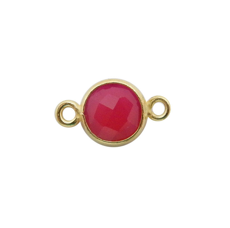 6mm Bezel Hot Pink Chalcedony Connector - 6mm Gold over Sterling Bezel Charm Pendant