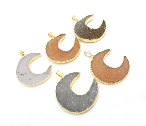 Druzy Crescent Moon Charm Double Bail Connector Pendants electroplated in 24k gold  EXCLUSIVE DESIGN