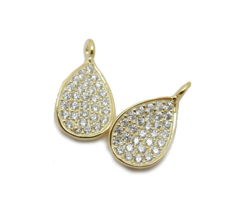 Petite Gold Over Sterling Silver Teardrop Pendant with Rhinestone Cz Accents (LA-168)