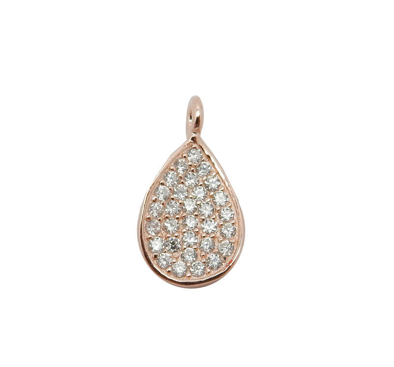 Petite Rose Gold Over Sterling Silver Teardrop Pendant with Rhinestone Cz Accents (LA-167)