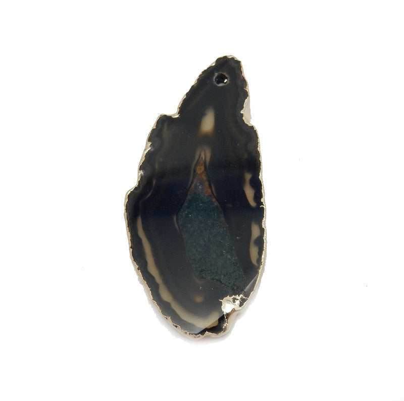 Natural Freeform Agate Slice Bead Pendant with Electroplated 24k Gold Edge