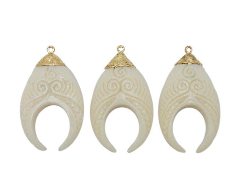 Crescent Pendant - White Bone Carved Crescent with Intricate Swirl Design Pendant with Electroplated 24k Gold Cap and Bail (S35B19-12)