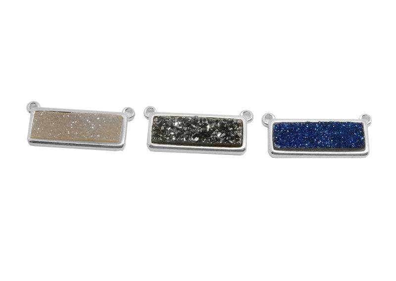 Mystic Blue Shimmer Druzy Bar Double Bail Pendant set in a Silver Plated Bezel