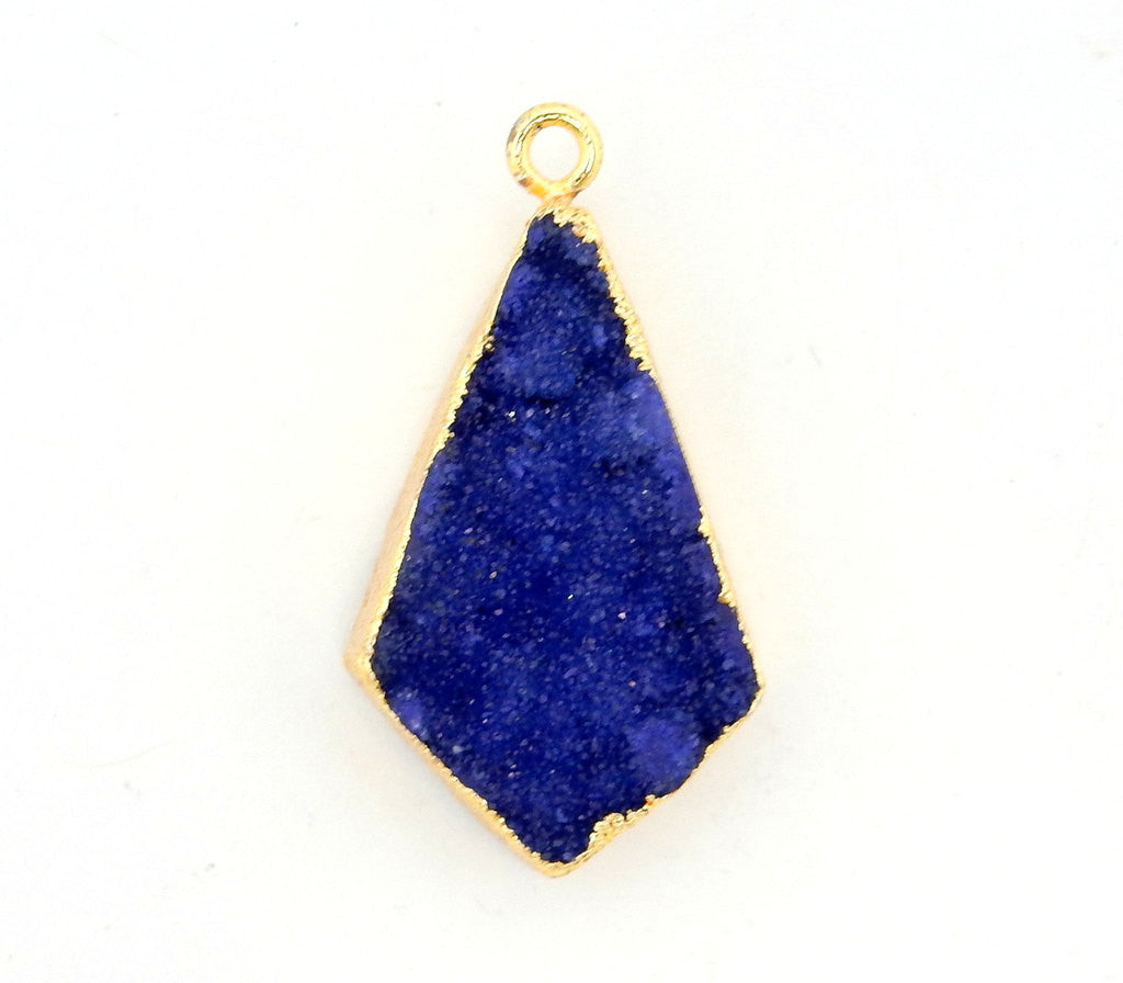 Purple Druzy Shield Pendant with Electroplated 24k Gold Edge (S28B20-05)