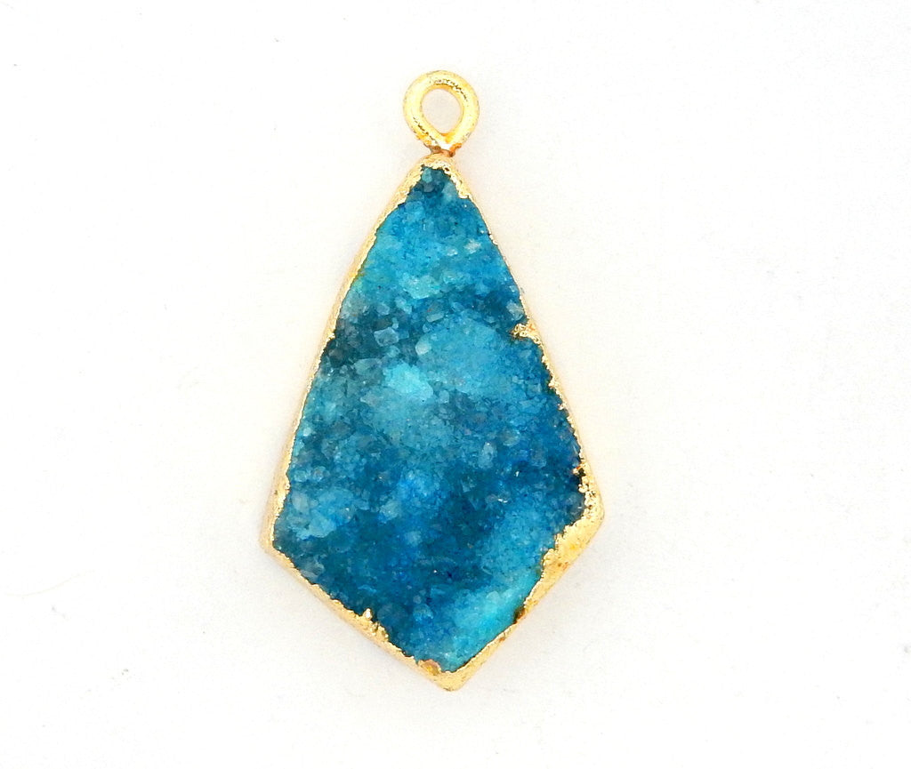 Teal Druzy Shield Pendant with Electroplated 24k Gold Edge (S28B20-08)