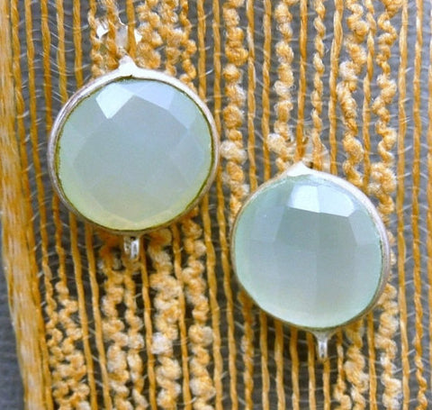 Aqua Blue Chalcedony Round Stud Earrings with Sterling Silver Bezels and Bails