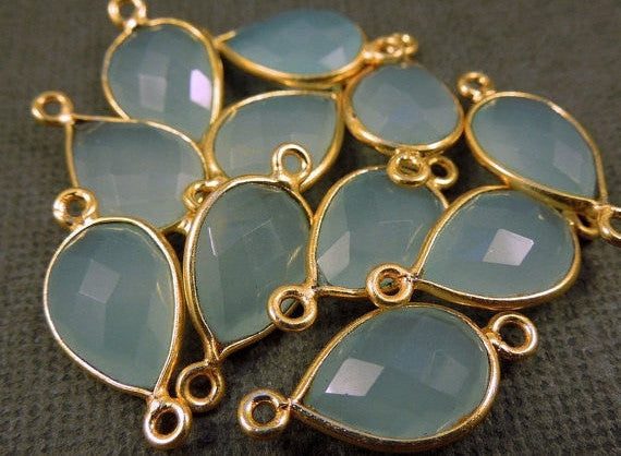 Aqua Blue Chalcedony Station Teardrop Connector - 14mm x 10mm Gold Over Sterling Bezel Link - Double Bail Charm Pendant