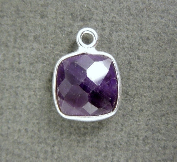 Amethyst Station Square Charm Pendant - 8mm Sterling Silver Bezel Pendant