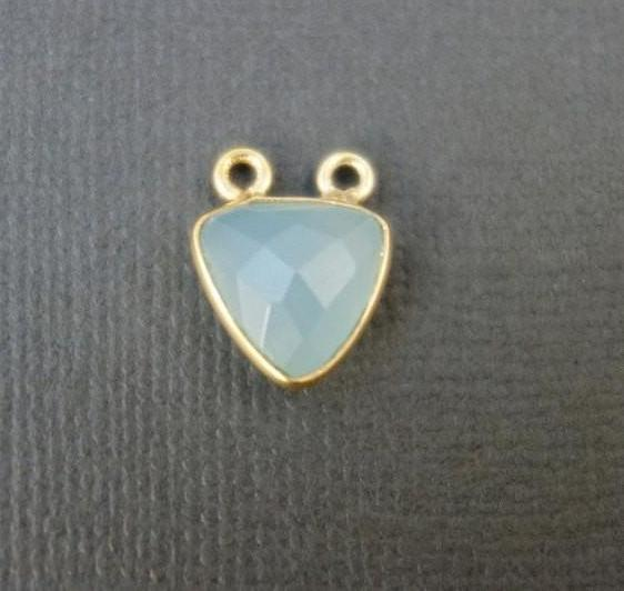 Bezel Connector Light Blue Chalcedony Station Trillion Double Bail Connector- 11mm Gold Vermeil Bezel Conector (S7B4-20)