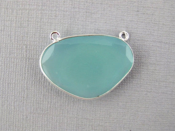 Aqua Blue Chalcedony Fancy Connector Pendant -28mm x 20mm Sterling Silver Bezel Link- Double Bail Connector Pendant