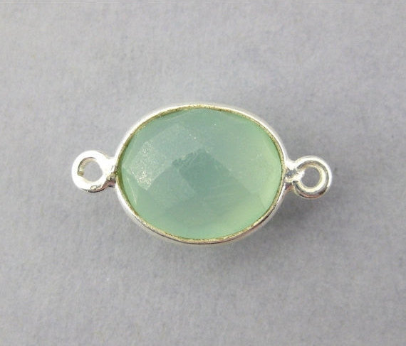Aqua Blue Chalcedony Station Oval Connector - 10mm x 9mm Sterling Silver Bezel Link Double Bail Charm Pendant