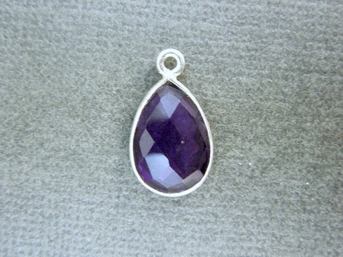 Amethyst Teardrop Station Charm Pendant- 10mm x 14mm Silver-layered Bezel Gemstone