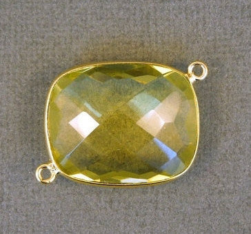 Lemon Topaz Station Rectangle Connector - 20mm x 25mm Gold layered Bezel Link - Double Bail Charm Pendant