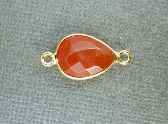 Bezel Connector Carnelian Station Teardrop Gemstone Connector - 10mm x 14mm Gold Layered Bezel Link - Double Bail Charm Pendant (GU-06)