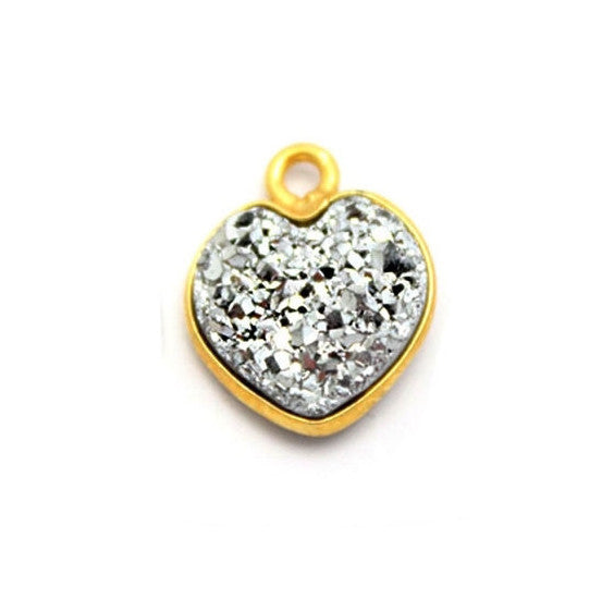Gold Plated Sterling Platinum  Shimmer Druzy - 10mm - Heart Shaped Bezel Pendant